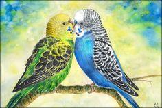 Original Aquarell Bild Wellensittiche Vogel von MasterfulArt