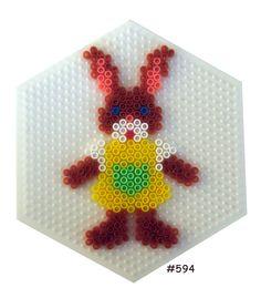 Velikonoční zajíček ze zažehlovacích korálků / Easter bunny girl hama perler pattern - HAMA