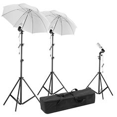 "Neewer® Photography Photo Portrait Studio Day Light Umbrella Lighting Kit, Kit includes: (2)75""/1.9m Tall Photography Studio Light Stands + (1)20""/50cm Table Top Light Stand + (3)Light and Umbrella Shoe Mount Clamps + (2)White Umbrella Reflector + (3)45W Day-Light Studio Light Bulbs + (1)Umbrella Carrying Case: Amazon.ca: Camera & Photo"