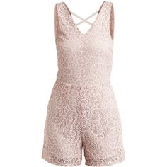 Vila Viallura - Playsuit ($36) ❤ liked on Polyvore featuring jumpsuits, rompers, playsuit, dresses, jumpsuit, shorts, rose smoke, pink lace romper, lace jumpsuit and sleeveless rompers