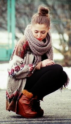 Floral cardigan with scarf and winter boots