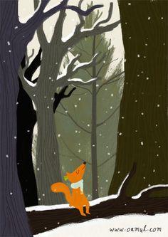 Fox illustration by Oamul Lu 🐺 Art And Illustration, Fuchs Illustration, Gif Animé, Animated Gif, Art Fox, Finding Neverland, Animation, Cute Drawings, Winter Wonderland