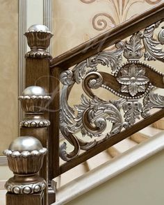 A staircase grill is not just a safety feature. The newels, balusters, and grills of a staircase can make a real design statement and bring a sense of Railing Design, Gate Design, Staircase Design, Staircase Railings, Grand Staircase, Stairways, Luxury Interior Design, Interior And Exterior, Stair Posts