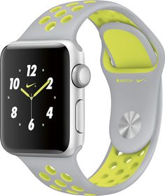 Apple - Geek Squad Certified Refurbished Apple Watch Nike+ 38mm Silver Aluminum Case Silver/Volt Nike Sport Band - Silver Aluminum, GSRF-MNYP2LL/A