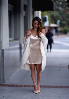 Jessica Ricks Gold Dress | Kitsch Couture Cardigan | Schutz Heels