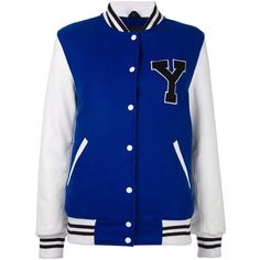 Manokhi varsity jacket ($710) ❤ liked on Polyvore featuring outerwear, jackets, blue, college jacket, letterman jackets, varsity bomber jacket, teddy jacket and blue letterman jacket