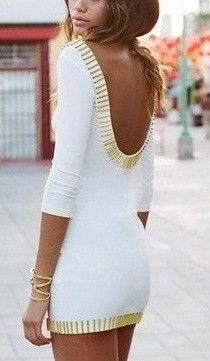 Gorgeous white dress with gold details and open back. #GetDressed