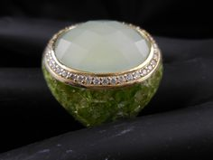 Chunky Chalcedony, Peridot, and White Topaz Gemstone Ring - Unique!