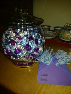 Bridal shower game - guess how many in the jar. Winner wins the jar. but something related to the bride and groom! for groom maybe how many beer tabs! lol