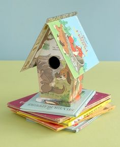 Simply green board book birdhouse. - Mod Podge Rocks