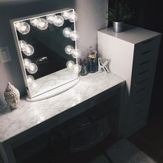This illuminating marble vanity station from looks so peaceful…