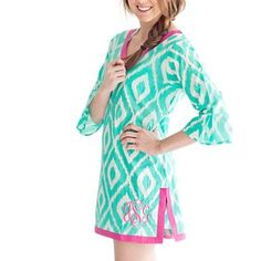 Be stylish on the beach or at the pool with these super cute monogrammed cover up tunics! Available in three styles, these are perfect to throw on after a quick dip in the water.COLORSPink AztecMint IkatReefBeach FloralSea TileSummer PaisleySIZESSmallMediumLargePlease be sure to add your monogram in the exact order you wish for it to appear. Traditional monograms are listed in first, LAST, middle initial order. FONT WILL BE ELEGANT CIRCLE.Thread colors as shown.DETAILS + FITS (Fl...