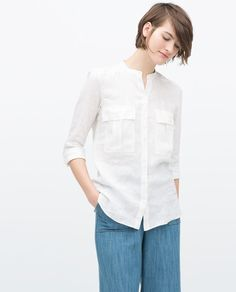 SHIRT WITH EPAULETTE AND POCKET-View all-Tops-WOMAN   ZARA Malaysia