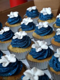 navy wedding cake with cupcakes and royal blue weddng found on weddbook 17794