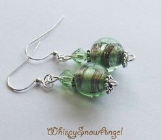 Green Glass and Swarovski Dangle Earrings Mint by WhispySnowAngel, $8.99