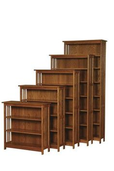 Amish Arts and Crafts Mission Bookcase Pick just the right size for your collection of books. This mission bookcase can be matched to your office furniture in the wood and stain you like best. Amish furniture made in America. #bookcase #officefurniture