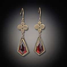 Gold Medium Multidisc Earrings with Garnet Drops by Ananda Khalsa: Gold & Stone Earrings available at www.artfulhome.com