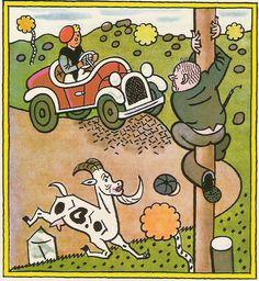 Josef Lada: První jízda Children's Book Illustration, Illustrations, Childrens Books, Fairy Tales, Literature, The Past, Humor, Comics, Retro