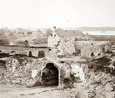 Charleston, South Carolina (vicinity). Interior of Confederate Fort Moultrie showing ruins of sally-port and walls