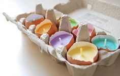 decoração com casca de ovos velas