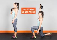 #Kettlebell Lunge Press-check out the good body alignment in this forward lunge... you can substitute holding a dumbbell or medicine ball if you don't have a kettle bell .