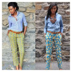 african print trousers // via African Attire, African Wear, African Women, African Dress, African Style, African Inspired Fashion, African Print Fashion, African Fashion Dresses, Work Fashion