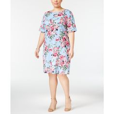 Karen Scott Plus Size Floral-Print Dress, ($25) ❤ liked on Polyvore featuring plus size women's fashion, plus size clothing, plus size dresses, blue whisper, floral dresses, white day dress, white floral print dress and floral print dress