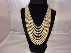 VTG. OFF-WHITE FAUX PEARL 8 STRAND HAND KNOTTED RHINESTONE NECKLACE~JAPAN  | eBay