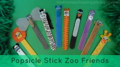 Popsicle Stick Ornaments   The forest animals from left to right are a brown bear, snake, rabbit ...