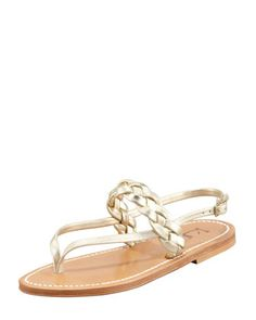 Pompei Braided Leather Slingback Flat Sandal, Platinum by K. Jacques at Bergdorf Goodman.