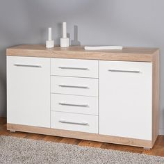 Metford Contemporary Sideboard In Oak White Gloss Front 2 Doors