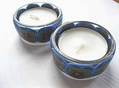 2 Lilac Flower Polymer Clay T-light Holders £6.00
