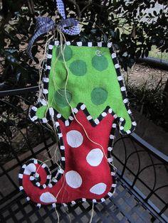 #Christmas stocking hand painted burlap door hanger