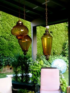 Vintage amber glass swag lamps from 1960s-70s