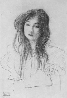 "Gustav Klimt, - ""Girl with long hair"", 1898, Oil painting on canvas, Original Size: 46.3 × 30.2 cm."