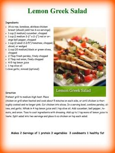 Lean and green. Take shape for life. Medifast Recipes, Bariatric Recipes, Healthy Eating Recipes, Healthy Cooking, Healthy Meals, Diet Recipes, Greek Salad Ingredients, Take Shape For Life, Kitchens