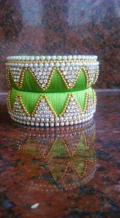 To order WhatsApp on 8527463838 Silk Thread Jhumkas, Silk Thread Bangles Design, Silk Bangles, Thread Jewellery, Bead Embroidery Jewelry, Beaded Embroidery, Hand Embroidery, Beaded Jewelry, Beaded Necklace Patterns