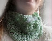 Collar Shawl Mohair cowl Neckwarmer with pearl bead - mint color cowl- woman scarf-present for woman, girl-mohair neckwarmer-romantic style