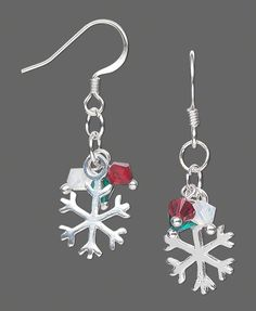 """Snowflake Simplicity Earrings"" with Swarovski Crystal Beads and Sterling Silver Snowflake Charms. #Christmas #DIYjewelry"