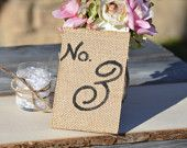 burlap wedding table numbers, rustic table numbers, counry reception table decor, mason jar wedding
