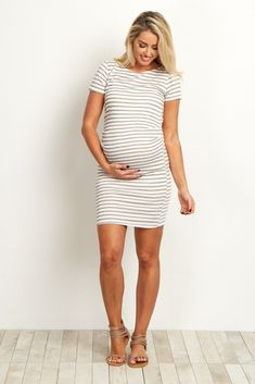 01f67b199ab Ivory Striped Fitted Short Sleeve Petite Maternity Dress Petite Maternity  Dresses