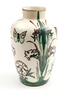 Polychrome painted earthenware vase with floral decoration and butterflies by J.C. Heijtze for Rozenburg, 1892-1893