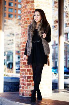 Winter Layering : Faux Fur Vest & Asymmetrical Drape Jacket