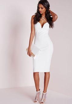 Missguided - Croc Textured Plunge Midi Dress White