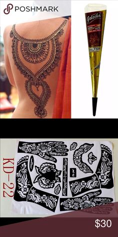 3 pcs of henna & tattoo template 3Pcs India Edition Authentic Original Kashmir Imports Henna Natural Jet Black Plant Henna Temporary Tattoos Painted Cream 25g A21pc  KD22 Tattoo Templates hands/feet henna tattoo stencils for airbrushing professional mehndi new Body Painting Kit supplies Isbel Accessories