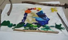 Melted crayon and nature crafts