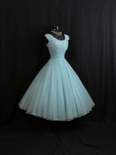 Vintage 1950's 50s Turquoise Blue Ruched CHIFFON by VintageVortex, $349.99