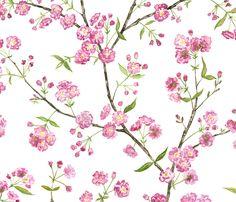 Cherry Blossoms fabric by jillbyers on Spoonflower - custom fabric