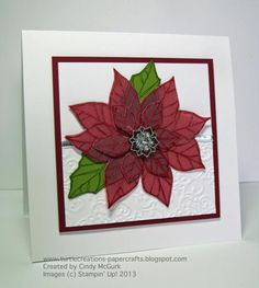 Joyful Christmas Poinsettia on Vellum by cjoy - Cards and Paper Crafts at Splitcoaststampers
