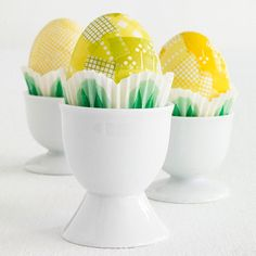 To create the tulip-petal pattern, tear small pieces of yellow washi tape and cover Easter eggs: http://www.bhg.com/holidays/easter/eggs/pretty-no-dye-easter-eggs/?socsrc=bhgpin033015yellowtulipeastereggs&page=8